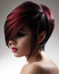 red hair with a long bangs