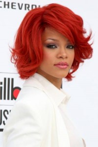 rihanna bob hairstyle red