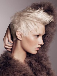 blond short spiky hairstyle