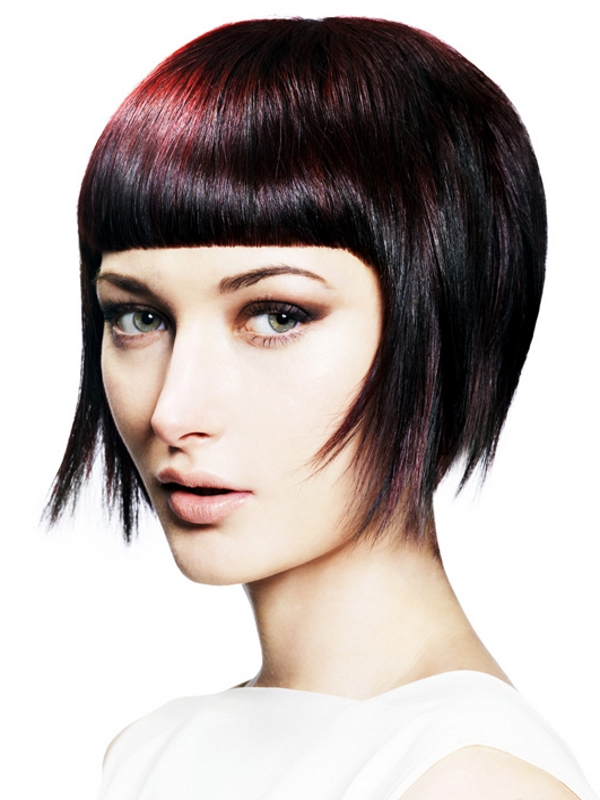 dark plum, straight bangs