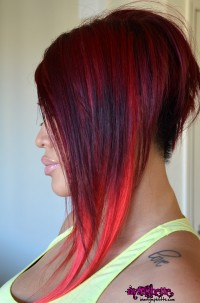 dark red bob long