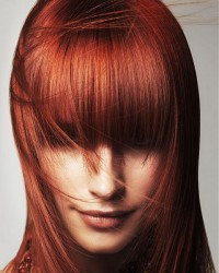 dark red long hair with bangs equal