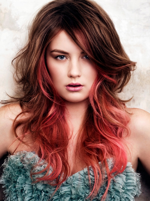 Surprising Haircut Two Colors Bright Red And Light Brown Hairstyles Hair Short Hairstyles Gunalazisus
