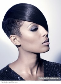 short black hair shaved sides long bangs