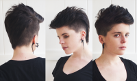 short haircut, shaved sides