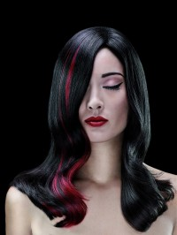 black hair, red highlights
