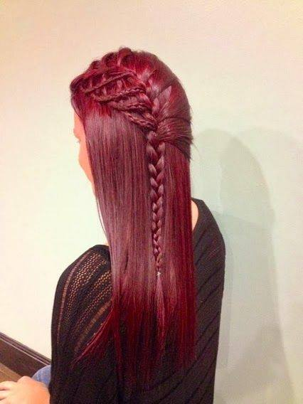 red hair, hairstyle with braids