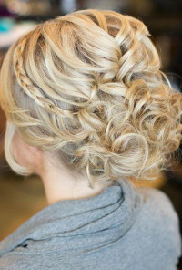 A Curly Updo With a Thin Braided Band | Wedding Hairstyles Photos