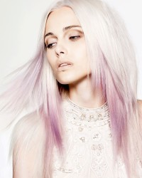 pink ombre white hair
