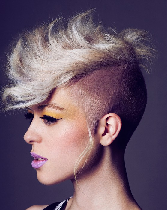 short blond hair, shaved sides