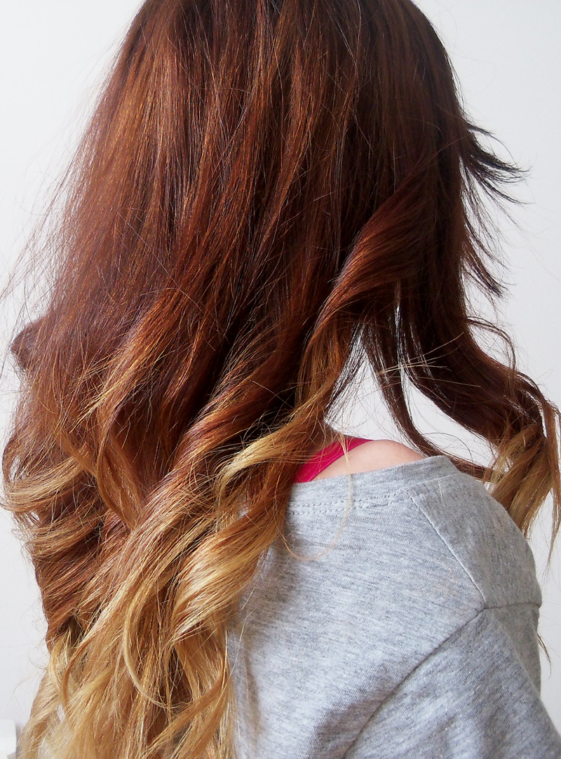 long wavy hair ombre