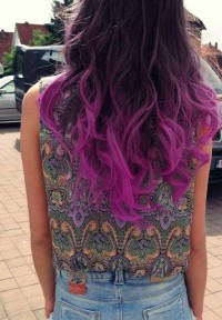 wavy hair purple ombre