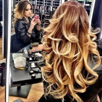 ombre, wavy long hair