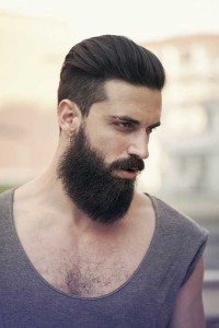 Male hairstyle, guy with beard