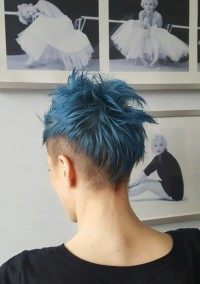 Short blue hair with shaved sides