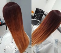 Long, straight, red ombre hairstyle