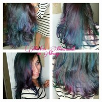 Dark, long hair with purple and blue layers