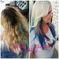 Amazing change of long, blond hair to light blond hairstyle with purple and blue endings