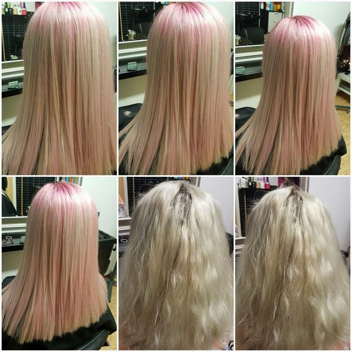 Long Straight Blond Hair With Pink Highlights Hairstyles Hair