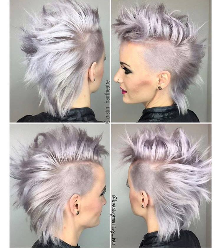 Amazing Short White Grey Hair With Shaved Backs And Punk