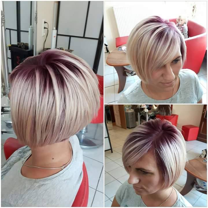 Short Blond Hair With Dark And Pink Highlights Hairstyles Hair