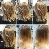 Medium, blonde highlighted hair with waves