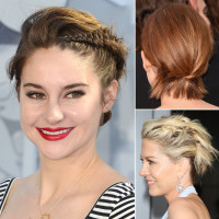 Amaizing looking short hairstyles with braids or tied hair