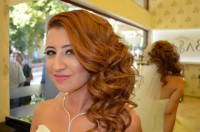 Beautiful hairstyle for wedding – long, ginger hair with one sided curls
