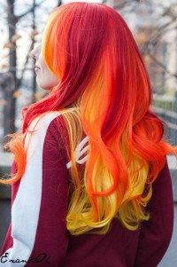 Hot like flames hairstyle – long, wavy, red, yellow hair