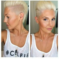 Short, cropped, blonde hairstyle with swept back fringe and shaved sides