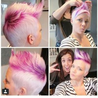 Funny short, cropped, blonde hairstyle with spiky pink fringe and trimmed sides