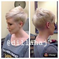 Short, cropped, blonde hairstyle with trimmed sides