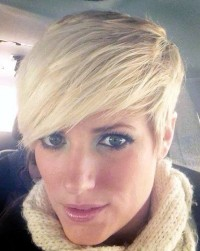Short, cropped, blonde, hairstyle with side swept fringe and trimmed sides