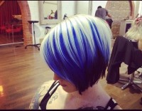 Short, bob like hairstyle with blue, white and dark colours