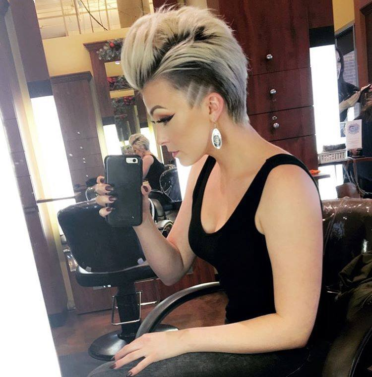 Short Punk Blonde Hairstyle With Dark Sides And Spiky