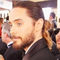 Jared Leto's hairstyle with tied hair and beard