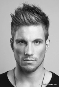 Short, simple, men's hairstyle with spiky fringe and trimmed sides