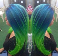 Fantasy looking hairstyle for long hair and blue and green highlights