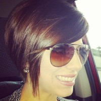 Short bob style haircut for brown hair