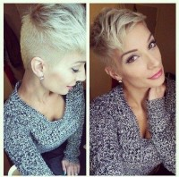 Cute short, blonde hairstyle with trimmed sides