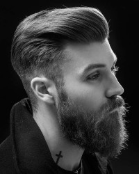 Textured pomp fade haircut