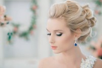 Wonderful wedding hairstyle with tied blond locks