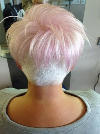 Short hairstyle with white trimmed back and light pink top