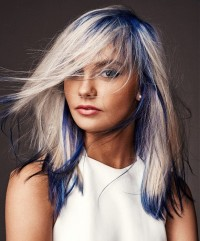 Light hairstyle with blue and white highlights