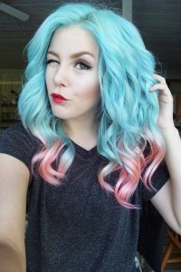 Long, curly, blue hair with pink endings