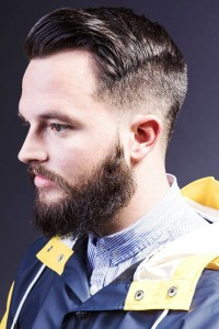 Quiff hairstyle with high fade and beard