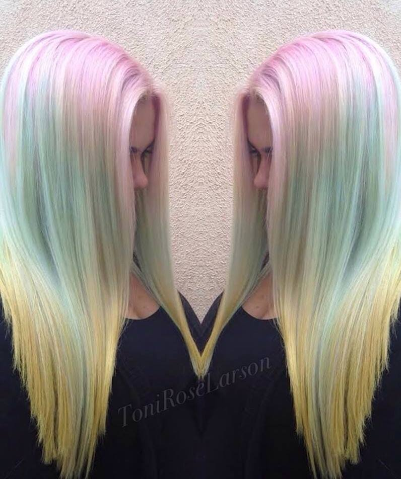 Long hair with mixed colours – pink, yellow, green, white