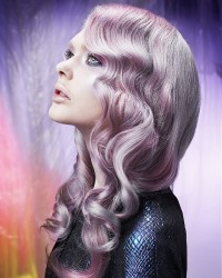 Long, curly hairstyle for platinum colour's lovers with purple highlights
