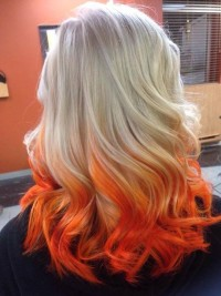 Unique looking orange ombre hairstyle for light blonde girls