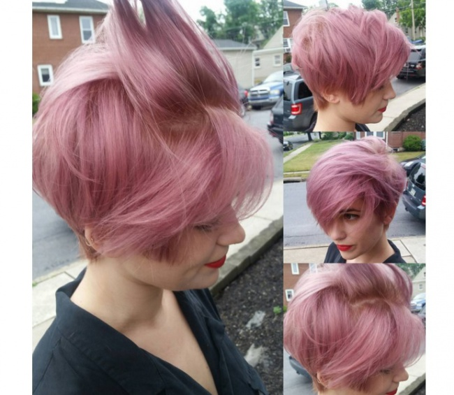 Short Thick Hair With Pink Highlights Hairstyles Hair